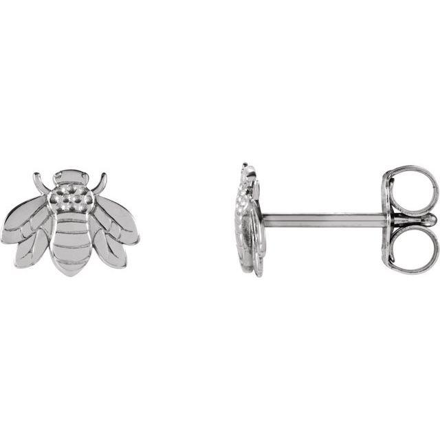 14K White Bumblebee Earrings