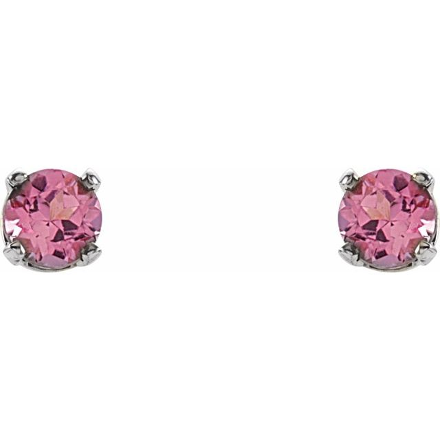 14K White 3 mm Round Pink Tourmaline Youth Birthstone Earrings