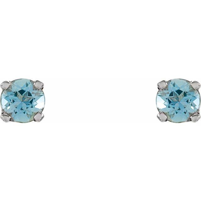 Sterling Silver 3 mm Round Imitation Aquamarine Youth Birthstone Earrings