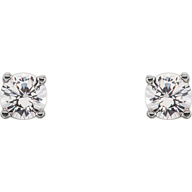 Sterling Silver Imitation Diamond Youth Earrings