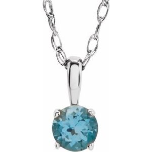 "Sterling Silver 3 mm Round Imitation Blue Zircon Youth Birthstone 14"" Necklace"