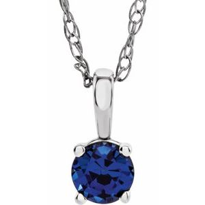"14K White 3 mm Round September Genuine Blue Sapphire Youth Birthstone 14"" Necklace"