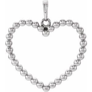 14K White Beaded Heart Pendant