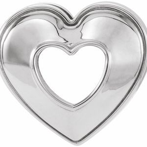 14K White 14x14 mm Heart Slide Pendant