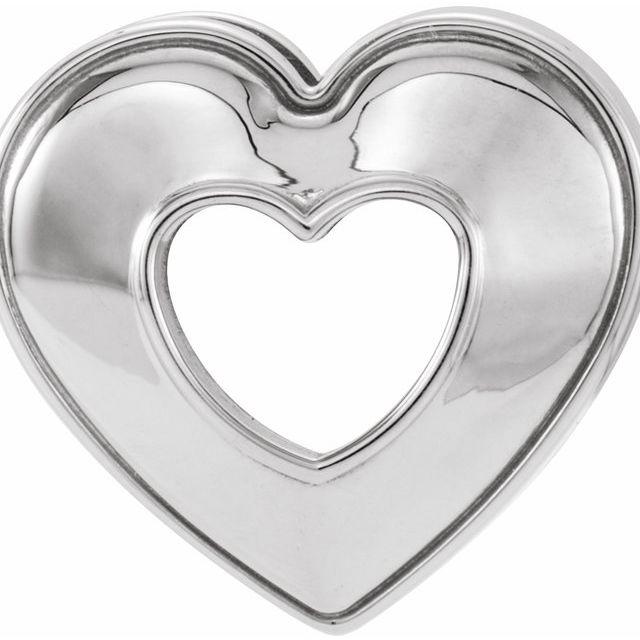 14K White 14x14 mm Heart Slide Pendant