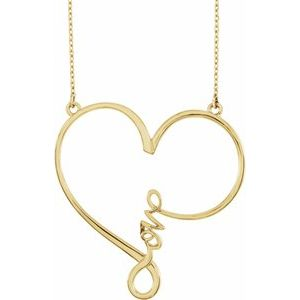 """14K Yellow 34x33 mm Infinity-Inspired Love Heart 18"""" Necklace"""