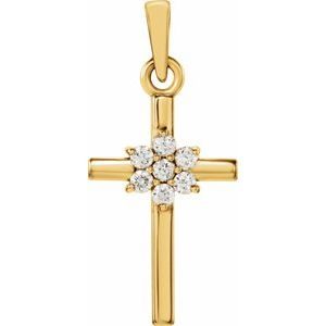 14K Yellow .07 CTW Diamond Cross Pendant