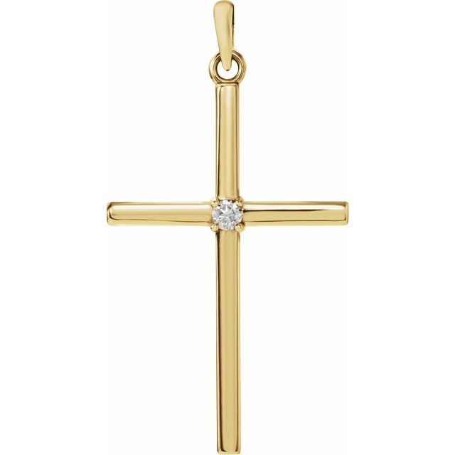 14K Yellow 30.4x16.3 mm .03 CT Diamond Cross Pendant