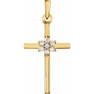 14K Yellow .06 CTW Diamond Cross Pendant