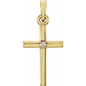 14K Yellow 19.2x9 mm .01 CT Diamond Cross Pendant