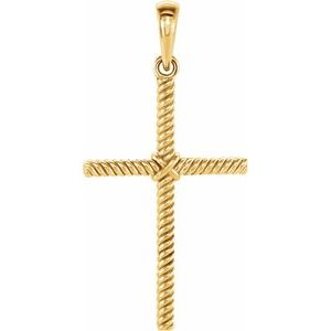 14K Yellow 25.4x16.2 mm Rope Cross Pendant