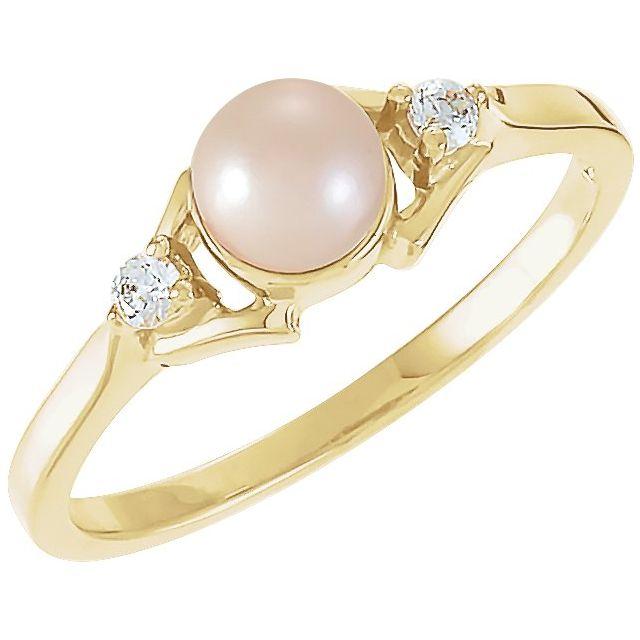 14K Yellow Akoya Cultured Pearl & .06 CTW Diamond Ring