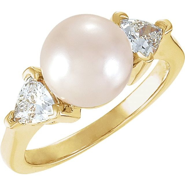 14K Yellow Akoya Cultured Pearl & 1/3 CTW Diamond Ring