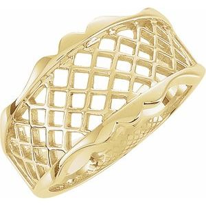 14K Yellow Lattice Design Band