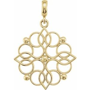 14K Yellow 27x18.75 mm Floral-Inspired Pendant