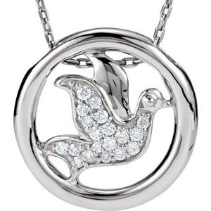 "Sterling Silver 1/8 CTW Diamond Dove Circle 18"" Necklace"