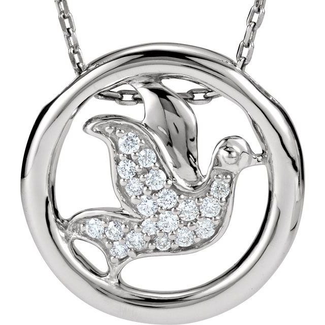 Sterling Silver 1/8 CTW Diamond Dove Circle 18