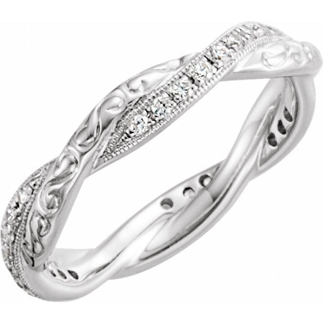 14K White 1/5 CTW Diamond Design-Engraved  Eternity Band Size 6