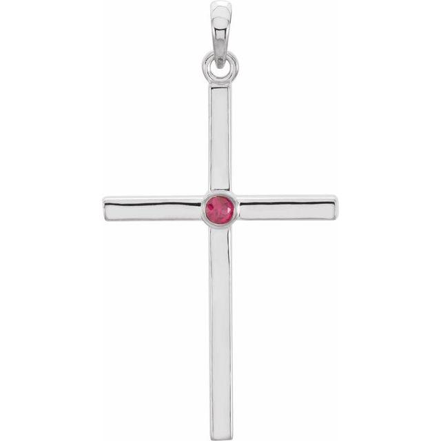 14K White Ruby Cross 30.6x16.6 mm Pendant