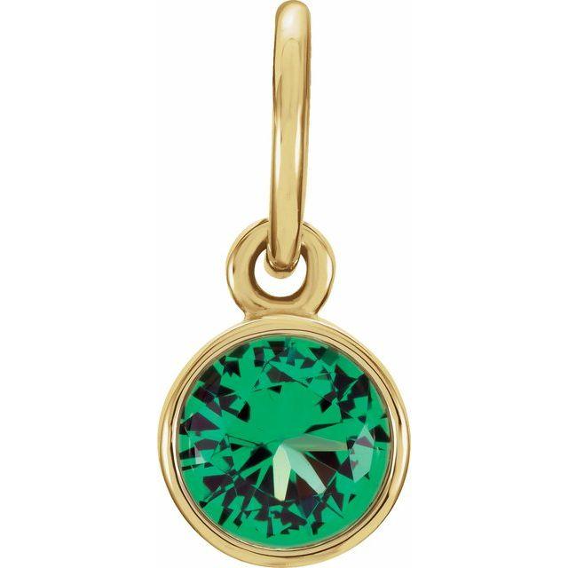 14K Yellow 4 mm Round Imitation Emerald Birthstone Charm