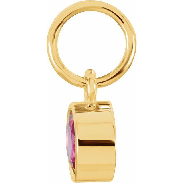 14K Yellow 4 mm Round Imitation Ruby Birthstone Charm