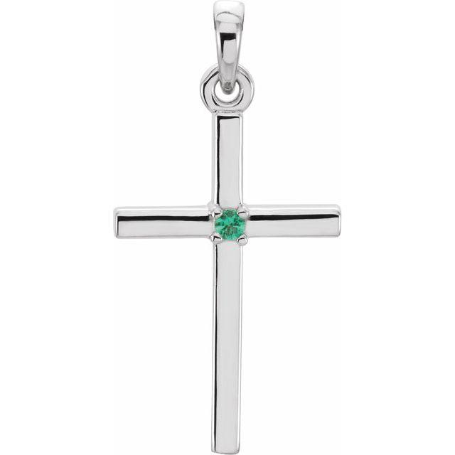 Platinum 22.65x11.4 mm Emerald Cross Pendant