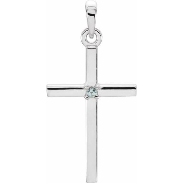 14K White 22.65x11.4 mm Blue Zircon Cross Pendant
