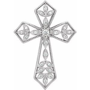 14K White 1/10 CTW Diamond Cross Pendant