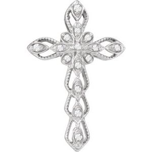 14K White .07 CTW Diamond Cross Pendant