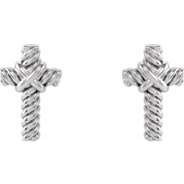 14K White Rope Cross Earrings