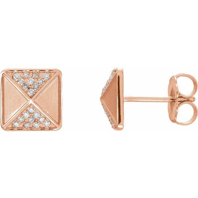 14K Rose .10 CTW Diamond Accented Earrings