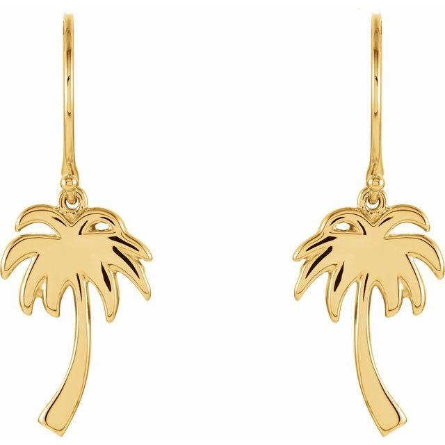 14K Yellow Petite Palm Tree Earrings