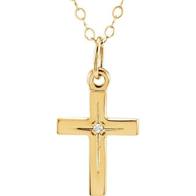 14K Yellow .005 CT Diamond Cross 15