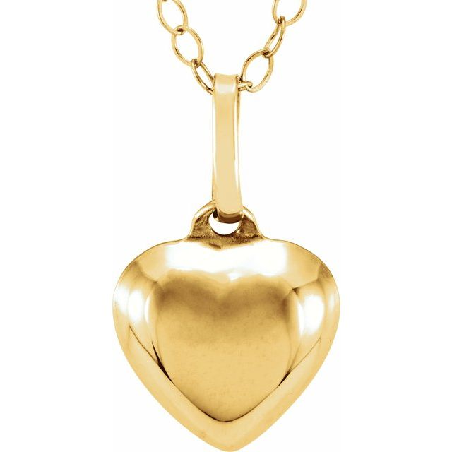 14K Yellow Puffed Heart 15