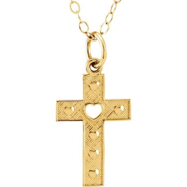 14K Yellow Pierced Heart Cross 15