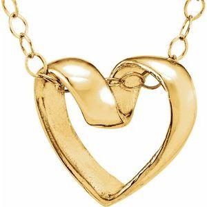 "14K Yellow Ribbon Heart 15"" Necklace"