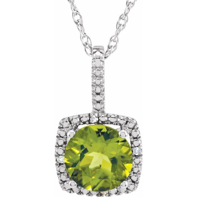 Sterling Silver 7 mm Peridot & .015 CTW Diamond 18