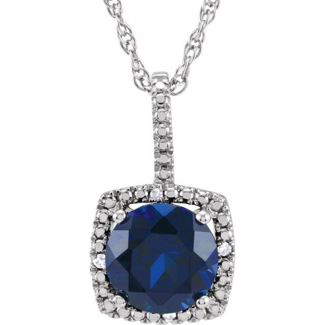 Sterling Silver 7 mm Lab-Created Sapphire & .015 CTW Diamond 18