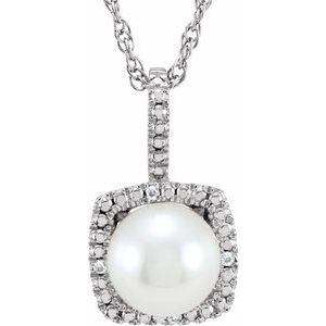 "Sterling Silver 6.5-7 mm Freshwater Cultured Pearl & .015 CTW Diamond 18"" Necklace"