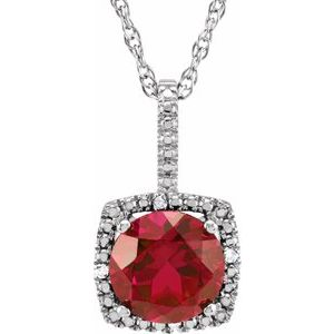 "Sterling Silver 7 mm Lab-Grown Ruby & .015 CTW Diamond 18"" Necklace"