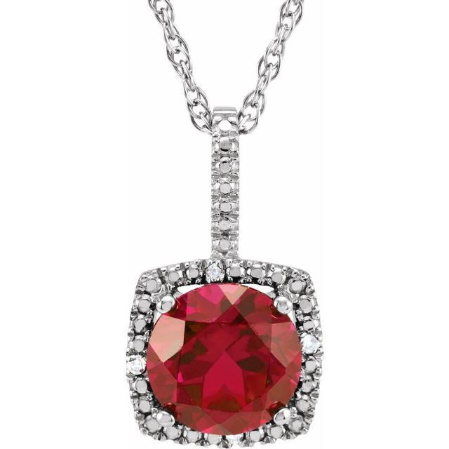 Sterling Silver 7 mm Lab-Created Ruby & .015 CTW Diamond 18