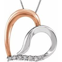 14K Rose Gold-Plated Sterling Silver .02 CTW Diamond Heart 18