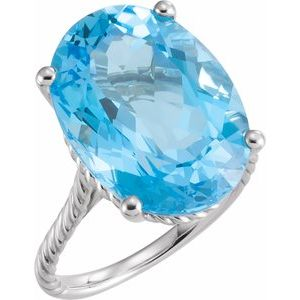 14K White 18x13 mm Swiss Blue Topaz Rope Ring