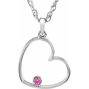 "Sterling Silver 1.5 mm Round Pink Cubic Zirconia Heart 18"" Necklace"