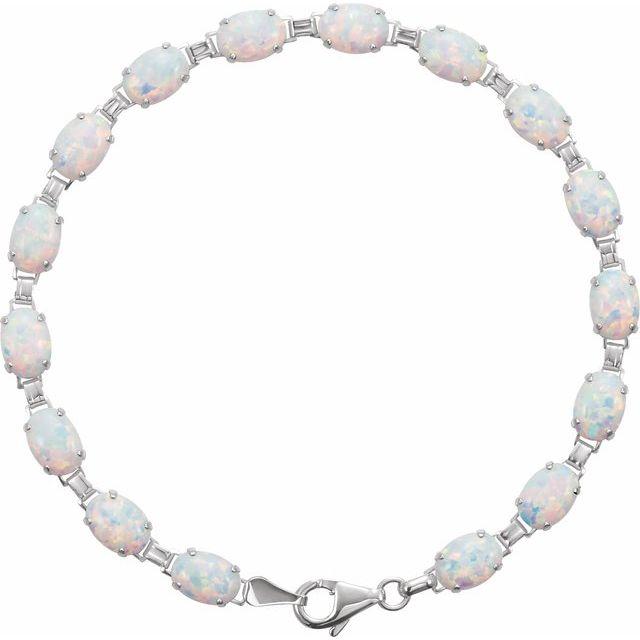 "14K White Lab-Grown Opal Line 7"" Bracelet"
