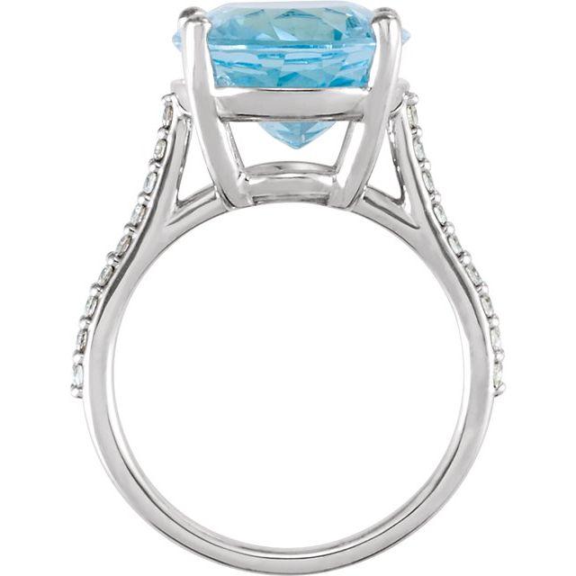 14K White Sky Blue Topaz & 1/4 CTW Diamond Ring