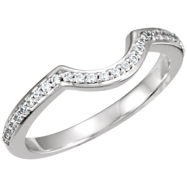 14K White 1/5 CTW Diamond Band for 5.2 mm Round Engagement Ring
