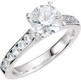 Accented Engagement Ring or Cathedral Shank for Peg Setting