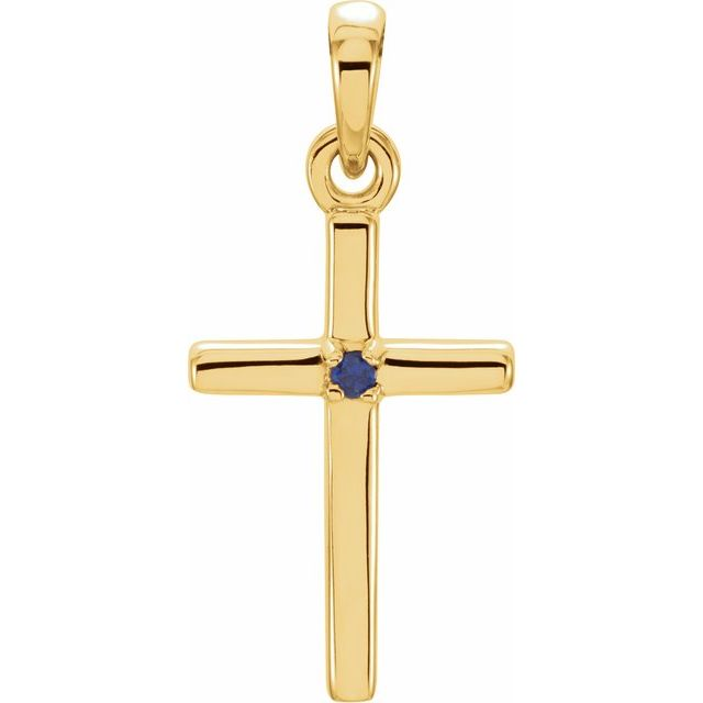 14K Yellow 19.2x9 mm Blue Sapphire Cross Pendant