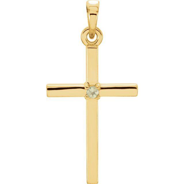 14K Yellow 22.65x11.4 mm Peridot Cross Pendant